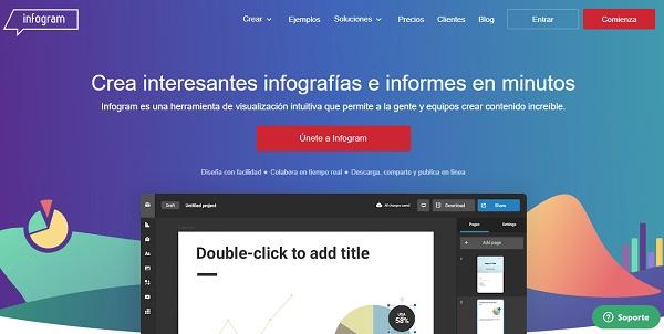 Infogram como página web para hacer o crear infografías