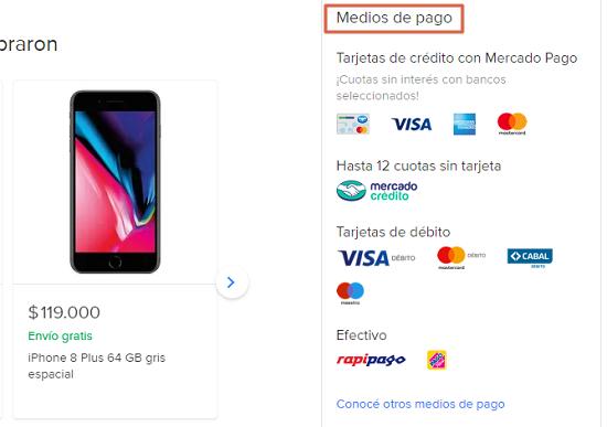 Medios de pago de Mercado Libre