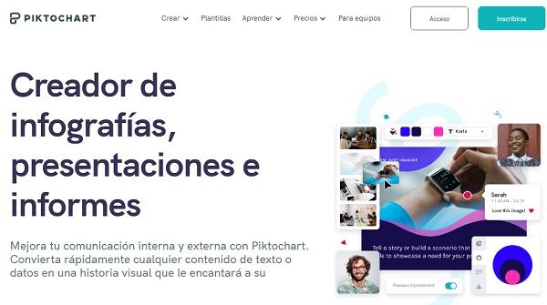 PiktoChart como página web para hacer o crear infografías