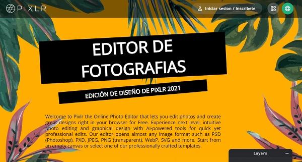 Pixlr como página web para hacer o crear infografías
