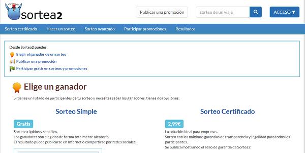 Sortea2 como página web para hacer o realizar sorteos