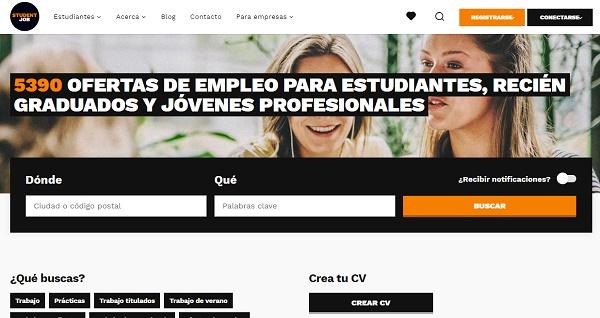 Studentjob como página web para buscar y conseguir empleo en Internet