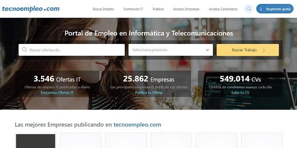 Tecnoempleo como página web para buscar y conseguir empleo en Internet