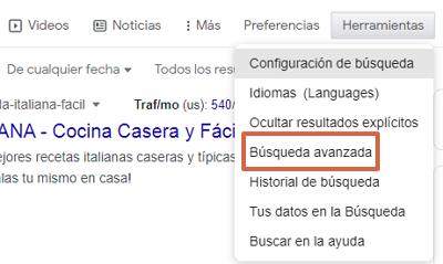 Cómo buscar y hallar una URL específica en Google usando la búsqueda avanzada paso 3