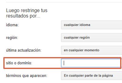 Cómo buscar y hallar una URL específica en Google usando la búsqueda avanzada paso 4