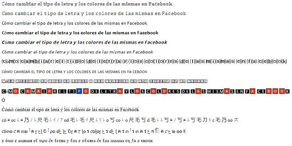 Cómo cambiar el tipo de letra y los colores de las mismas en Facebook usando un sitio web externo paso 4