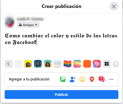Cómo cambiar el tipo de letra y los colores de las mismas en Facebook usando un sitio web externo paso 5