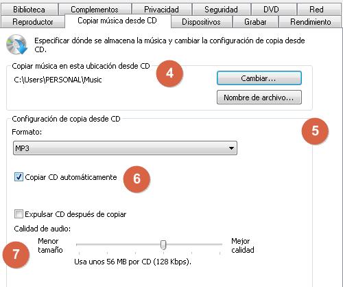 Cómo convertir un archivo CDA a MP3 desde el Reproductor de Windows Media pasos 4, 5, 6 y 7