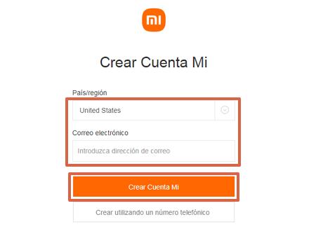 Cómo crear una cuenta Mi Xiaomi desde el ordenador paso 2
