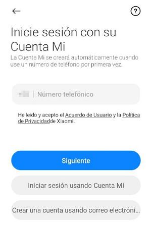 Cómo crear una cuenta Mi Xiaomi desde la app oficial