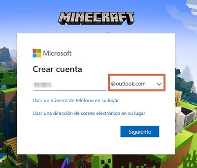 Cómo crear una cuenta o registrarte en Minecraft totalmente gratis paso 2
