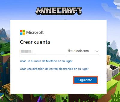 Cómo crear una cuenta o registrarte en Minecraft totalmente gratis paso 3