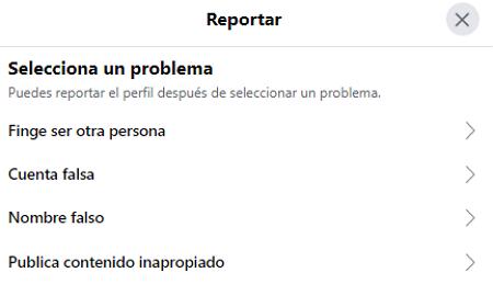 Cómo eliminar la cuenta de Facebook de otra persona. Al denunciar el perfil. Paso 4