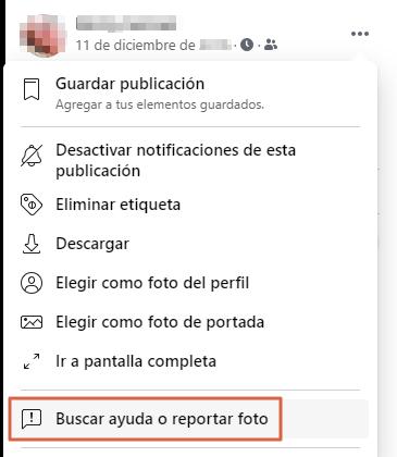 Cómo eliminar la cuenta de Facebook de otra persona. Al reportar una fotogragía etiquetada. Paso 2