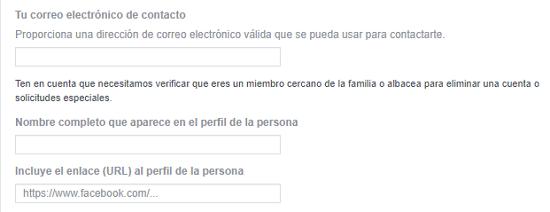 Cómo eliminar la cuenta de Facebook de otra persona. En caso de fallecimiento o incapacidad. Paso 2