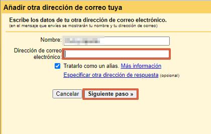 Cómo enviar mensajes en un correo corporativo desde Gmail paso 4