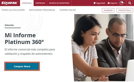 Cómo obtener tu informe Dicom Platinum 360 desde el portal de Equifax paso 1