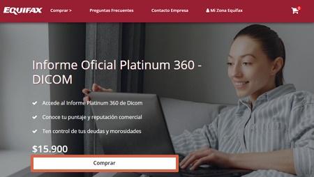 Cómo obtener tu informe Dicom Platinum 360 desde el portal de Equifax paso 2