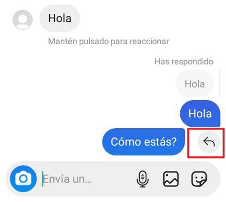 Cómo responder o reaccionar a un mensaje específico en Instagram desde la aplicación. Paso 4