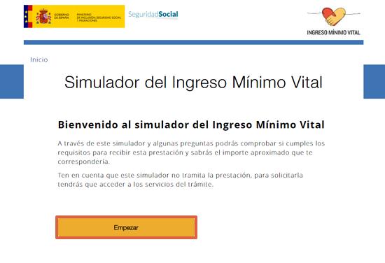 Cómo usar el simulador de Ingreso Mínimo Vital paso 1