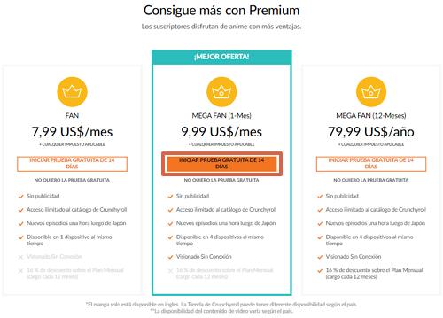 Cómo ver y tener Crunchyroll Premium gratis paso 2