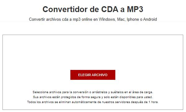 Convertidor de CDA a MP3 AnyConv