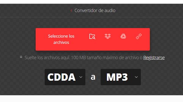 Convertidor de CDA a MP3 Convertio