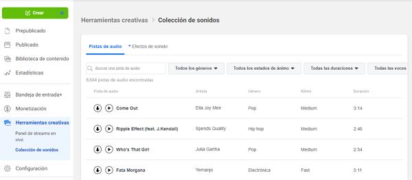 Herramientas creativas de Facebook Creator Studio