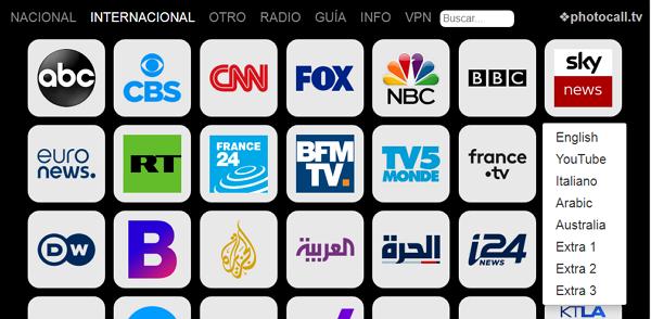 Photocall.tv cómo ver o mirar canales de TV en vivo gratis contenido disponible