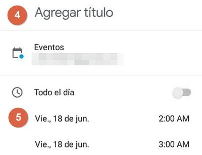 Programar una reunión de Google Meet en Google Calendar desde el móvil pasos 4 y 5