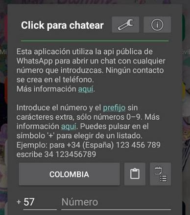 Cómo enviar mensajes de WhatsApp sin agendar el contacto usando la app Click para chatear paso 2