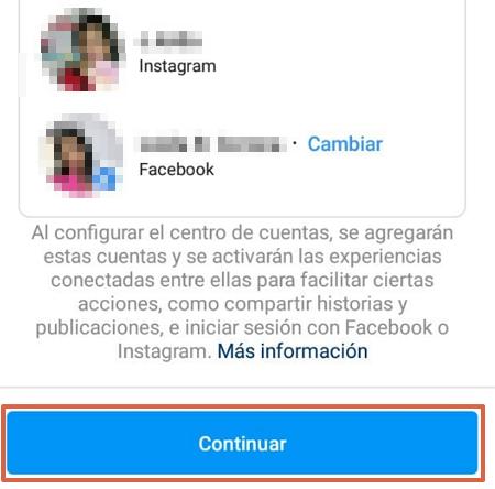 Cómo vincular la cuenta de Instagram con Facebook desde su propia plataforma paso 7
