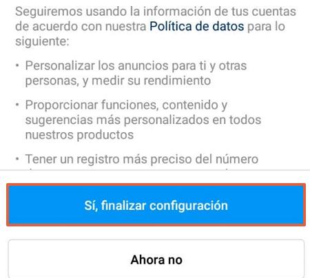 Cómo vincular la cuenta de Instagram con Facebook desde su propia plataforma paso 8