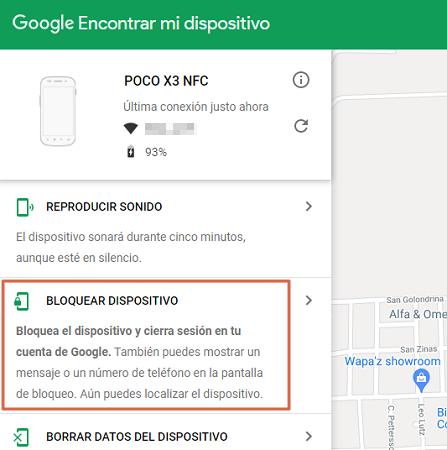 Cómo bloquear un celular robado o perdido Telcel usando la ubicación de Google paso 3