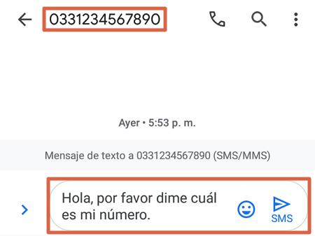 Cómo saber mi número Telcel enviando un mensaje con costo paso 1