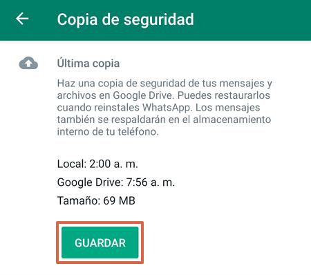Crear copia de seguridad para reinstalar WhatsApp sin perder los Chats paso 4