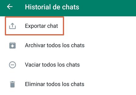 Exportar chats de WhatsApp paso 3